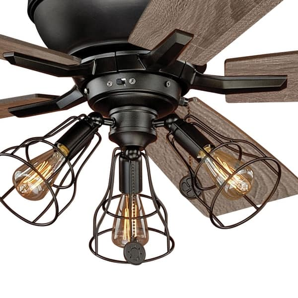 Clybourn Farmhouse Industrial 52 Inch Bronze Ceiling Fan With Wire Cage Led Light Kit 52 In W X 21 In H X 52 In D Overstock 20985919