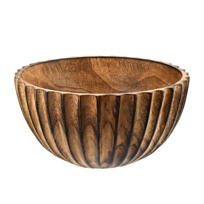 Handmade Beautifully Textured Mango Tree Wood Brown Stain 10 Inches Serving Bowl (Thailand)