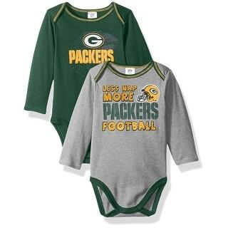Green Bay Packers Baby Boys Long Sleeve Bodysuit, 2-Pack