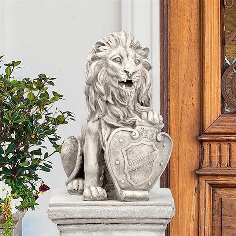 Design Toscano Roaring Beasts of Castello di Rocca Lion Sentinel Statue Left Paw Up