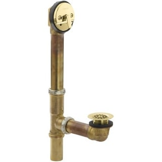 "Kohler K-11660 Swiftflo 1-1/2"" adjustable trip lever Bathtub Drain, 17-gauge brass, for 14"" to 16"" baths"