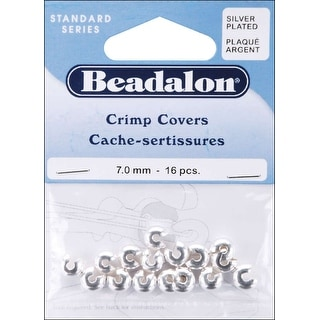 Silver-Plated Crimp Covers-7mm 16/Pkg - Silver