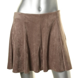 Aqua Womens Faux Suede Pleated Flare Skirt