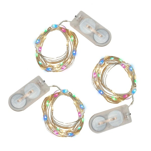 """Set of 3 LED Multi Color Micro Rice String Lights with 20 Lights 76"""""""