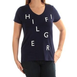 Womens Navy Logo Short Sleeve Scoop Neck Casual Top Size XXL