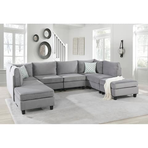 Simona Grey Velvet Fabric 8Pc Modular Sectional Sofa U Shape Couch