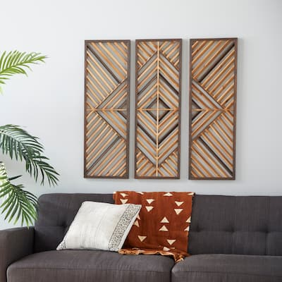 """Set of 3 Brown Wood Contemporary Wall Decor 12""""W, 35""""H - 12 x 1 x 35"""