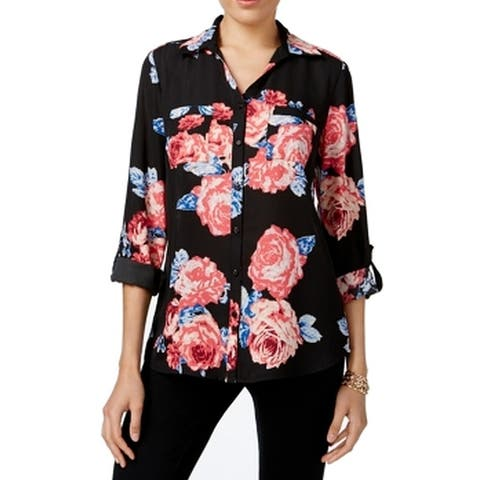 NY Collection Black Womens Size Large L Floral Printed Blouse