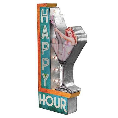 """American Art Decor Happy Hour Vintage LED Marquee Sign (25"""" x 13"""")"""