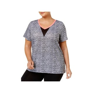 Material Girl Womens Plus Pullover Top Space Dye Short Sleeves