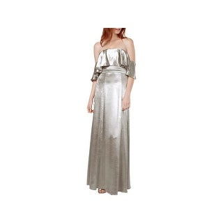 Fame And Partners Womens Evening Dress Metallic Ruffled