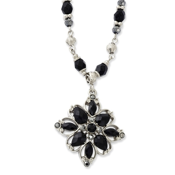 Silvertone Clear/Black/Hematite Crystal & Acrylic Stone Necklace - 16in