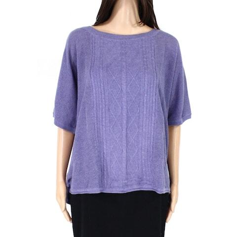 prAna Womens Nadine Sweater Purple Size XL Cable Knit Seed-Stitched