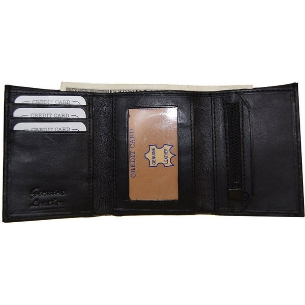 Improving Lifestyles Leather Mens Wallet Trifold window ID Change Pocket & Bag - Black