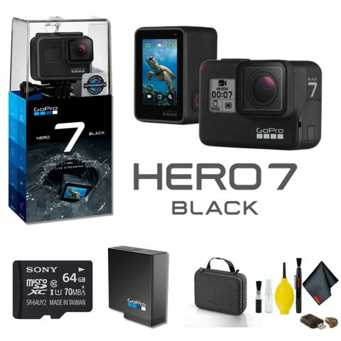 GoPro HERO7 Black Action Camera With 64GB Memory Card Case And More - Bundle