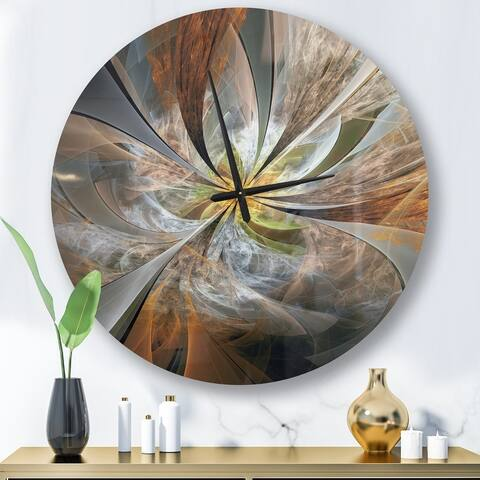 Designart 'Symmetrical Yellow Fractal Flower' Oversized Wall Clock