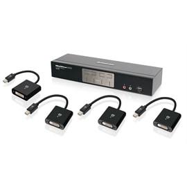 IOGEAR KVMP GCS1204MDPKIT 4-Port DVI and nDisplayPort KVMP Kit with 2.1 Audio Retail