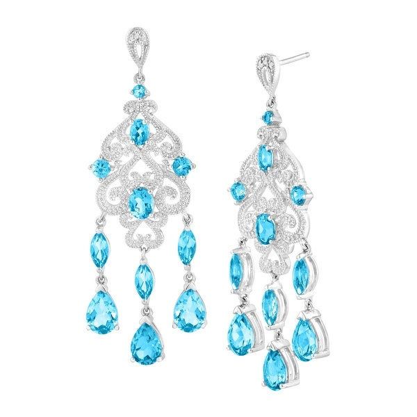 8 1/2 ct Natural Swiss Blue Topaz Chandelier Earrings with Diamonds in Sterling Silver