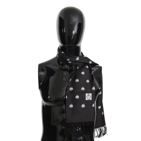 Dolce & Gabbana Black Silk Crown Fringes Mens Wrap 130cm x 15cm Men's Scarf - one-size