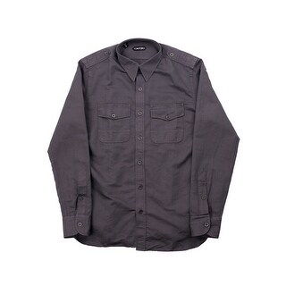 New Tom Ford Mens Grey Cotton Blend Military Twill Sports Shirt