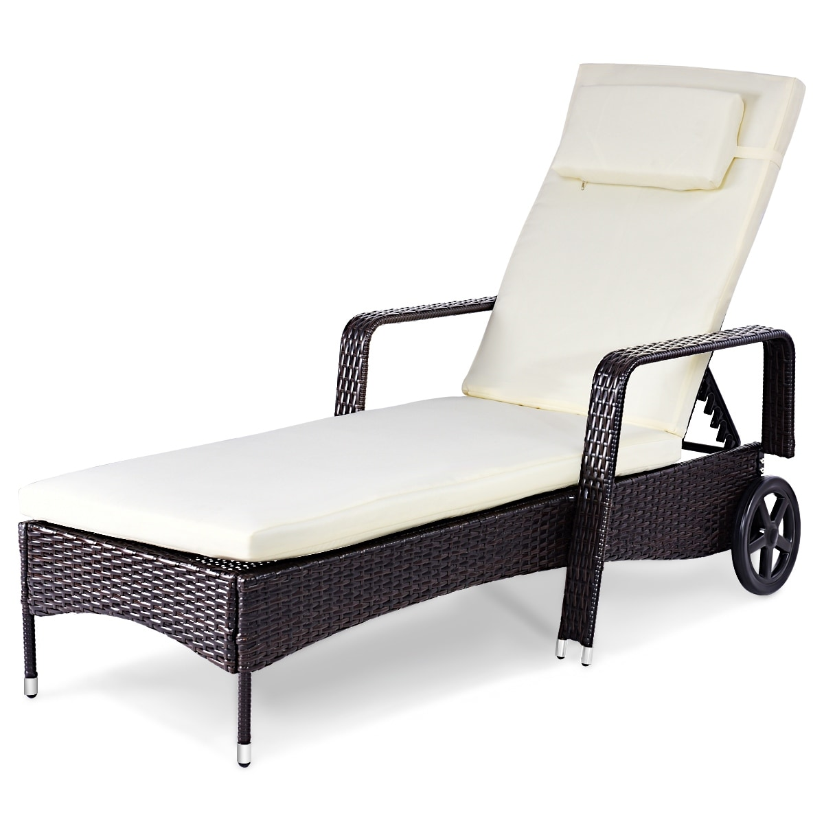 Magnificent Costway Outdoor Chaise Lounge Chair Recliner Cushioned Patio Furniture Adjustable Wheels Inzonedesignstudio Interior Chair Design Inzonedesignstudiocom