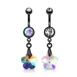 """Black Plated Surgical Steel Crystal Prism FlowerNavel Belly Button Ring - 14 GA 3/8"""" Long (Sold Ind.)"""