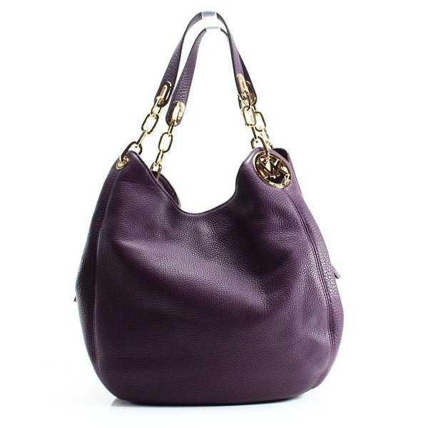 9c94141f99cb Shop Michael Kors NEW Purple Damson Pebble Leather Fulton Shoulder ...