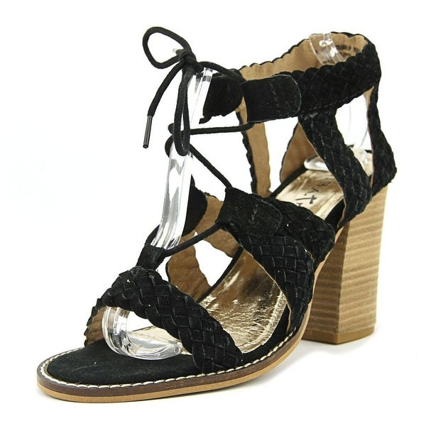 Diba True Tradin Up Women Open Toe Suede Black Sandals