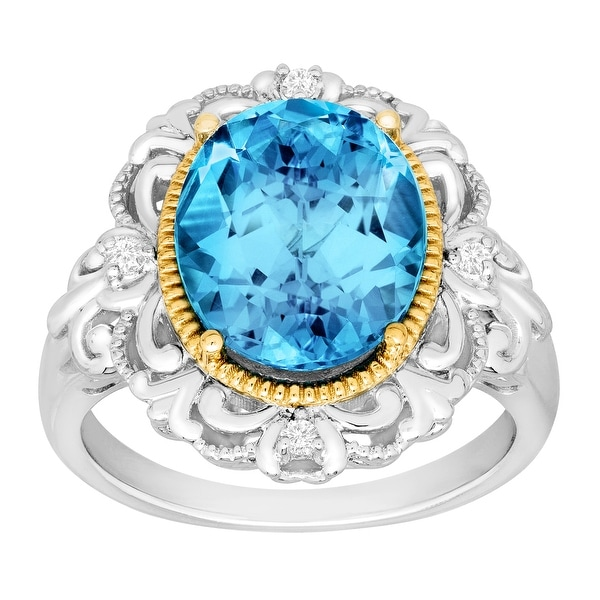 5 5/8 ct Natural Swiss Blue Topaz Ring with Diamonds in Sterling Silver and 14K Gold