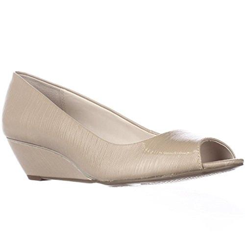 A. Cammi Peep Toe Wedge Heels - Khaki