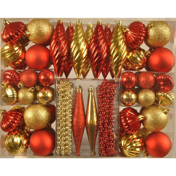Christmas at Winterland WL-ORNKIT-90-GO/RE 90 Red and Gold Mini Ornaments