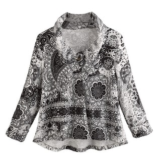 Women's Jacket - Black And White Medallion Printed One Button Cardigan
