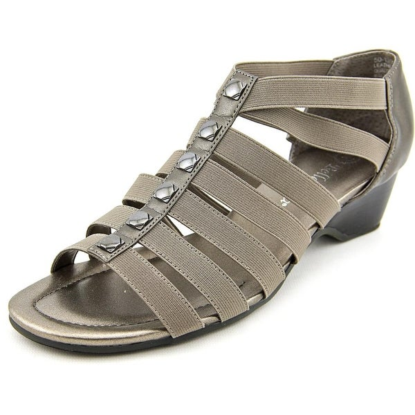Bella Vita Paula II Women Open Toe Canvas Gray Wedge Sandal