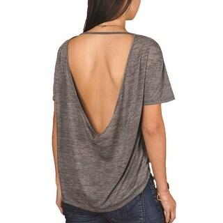 Alternative Womens Pony Melange Burnout T-Shirt w/ Back Strap - Ash Heather - Large - ash heather