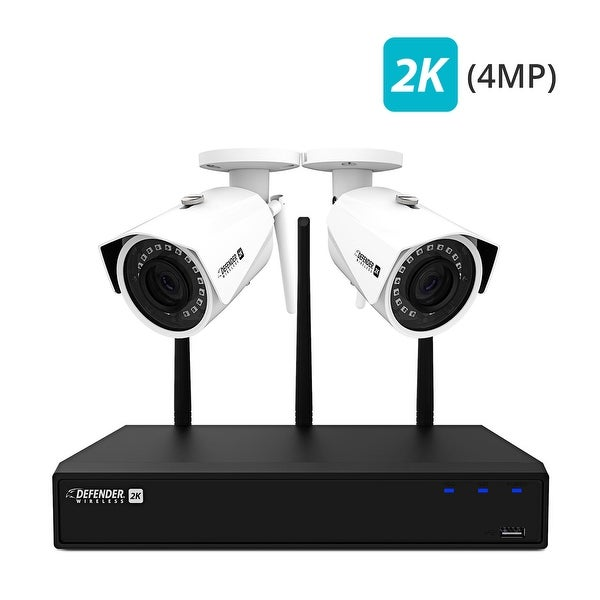 Defender 2K (4MP) Wireless 4 Channel 1TB NVR Security System with Remote Viewing and 2 Wide Angle Wi-Fi Cameras
