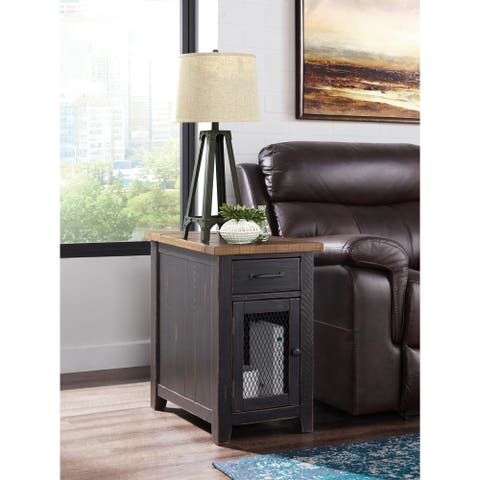 Rustic Wood Chairside Table with Power by Martin Svensson Home