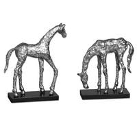 "Set of 2 ""Let's Graze"" Polished Aluminum Frolicking Horse Statues 10"" - 12"" - Silver"
