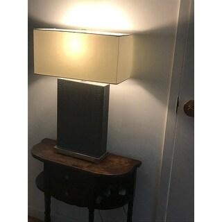 Safavieh Lighting 28-inch Joyce Faux Snakeskin Grey Table Lamp (Set of 2)