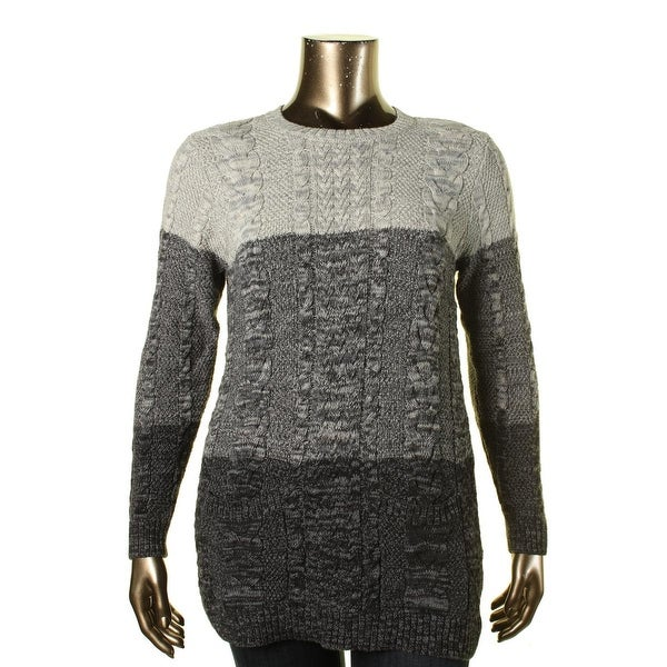 Jeanne Pierre Womens Pullover Sweater Marled Cable Knit