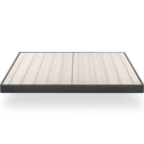 Priage by ZINUS Upholstered Metal Box Spring with Wood Slats, 4 Inch Mattress Foundation