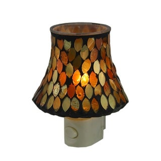 Autumn Leaves Mosaic Amber Glass Plug In Night Light - GOLD