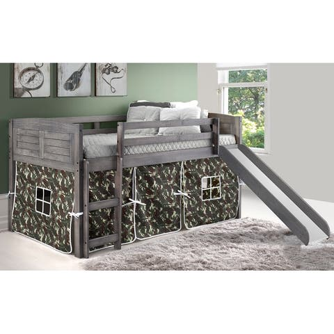 Twin Louver Low Loft with Slide in Antique Grey