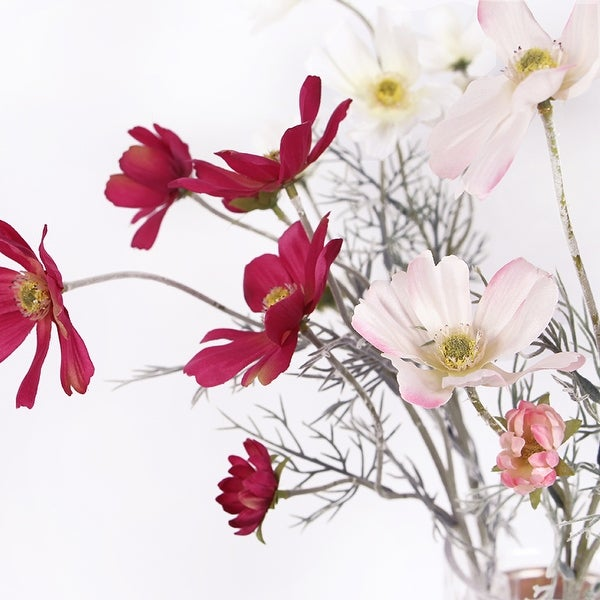 """FloralGoods Silk Cosmos Stem in Light and Dark Pink 24"""" Tall"""