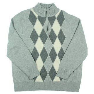 Alex Stevens Mens Heathered Argyle Funnel-Neck Sweater