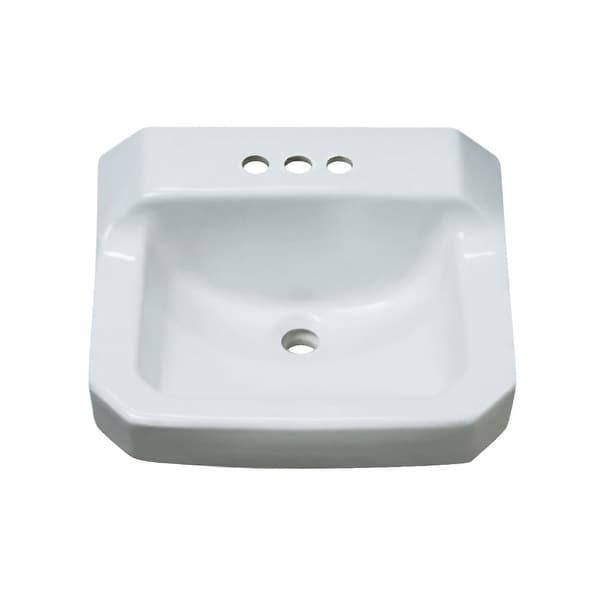 "ProFlo PF5414 19-7/8"" Wall Mounted Rectangular Bathroom Sink - 3 Holes Drilled - White"