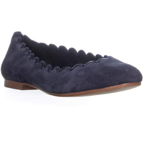 DKNY Womens 603221262419 Suede Embroidered Trim Ballet Flats - 8.5