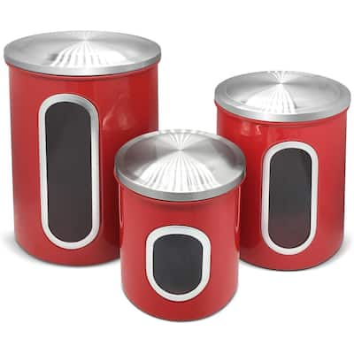 Stainless Steel Canister Sets with Anti-Fingerprint Lid and Visible Window, Cereal Container Set of 3 (Raspberry Red) - N/A