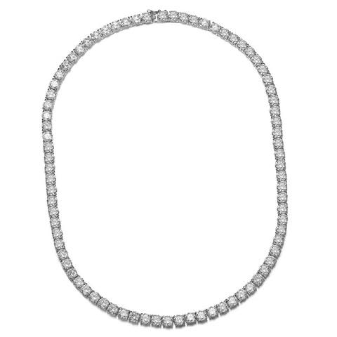 Collette Z Rhodium Plated Clear Round Cubic Zirconia Tennis Necklace