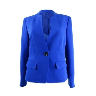 Link to Kasper Women's Stand-Collar One-Button Blazer - Sapphire Similar Items in Suits & Suit Separates