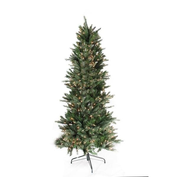 8.5' Pre-Lit Vermont Fir Instant Shape Artificial Christmas Tree - Clear Lights - green